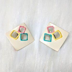 Jewelry - Enamel Cube Earrings